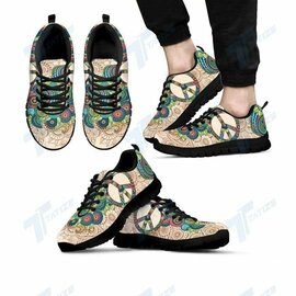 Badass version  peace flower paisley hippie all over print sneakers