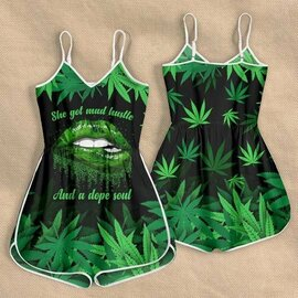 Badass version  sexy lips she got mad hustle and a dope soul weed leaf rompers