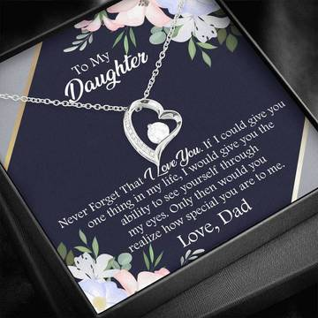 Badass version  to my daughter never forget that i love you love your dad hearts necklace