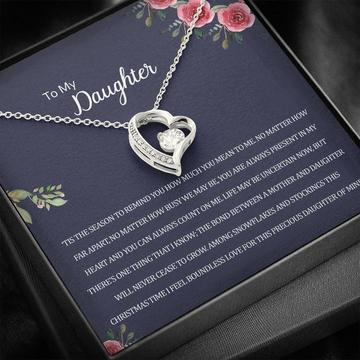 Badass version  to my daughter you are always present in my heart hearts necklace