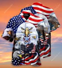 Badass version eagles patriotic american flag all over printed hawaiian shirt