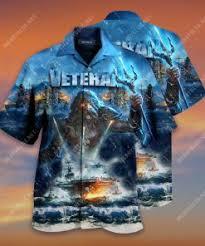 Badass version united state veteran on the sky all over printed hawaiian shirt