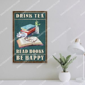 Badass version vintage drink tea read books be happy poster