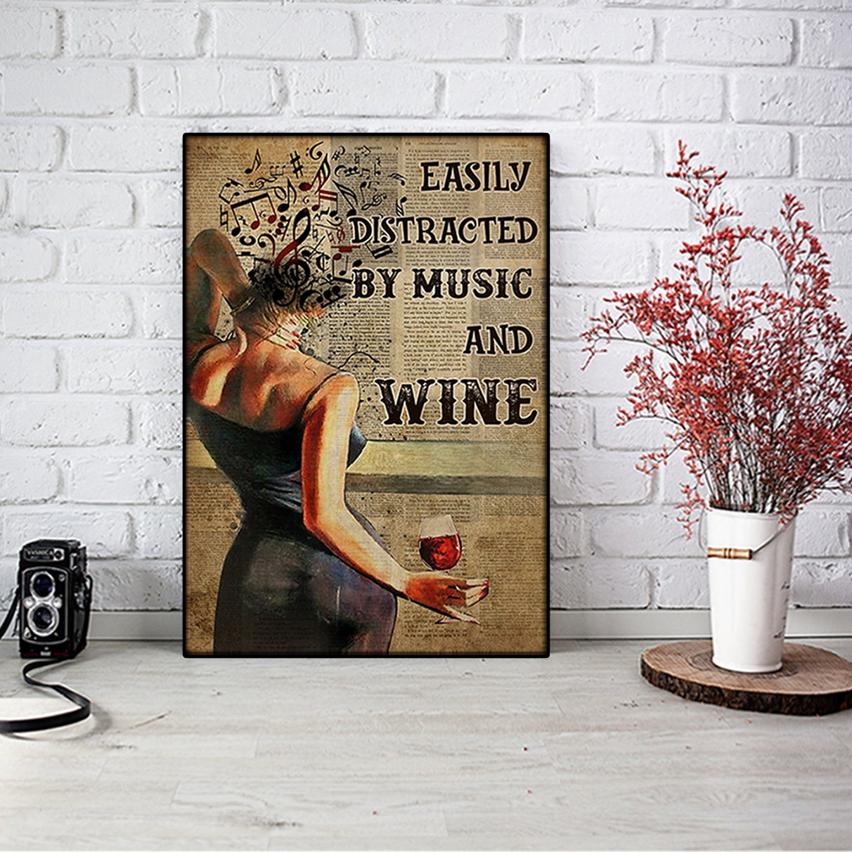 Poster Easily distracted by music and wine book