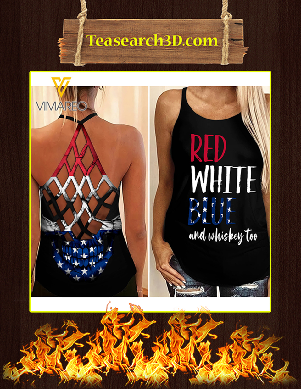 Red white blue and whiskey girl criss cross tank top