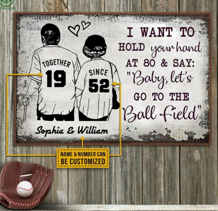 Baseball Personalized Together Since Poster