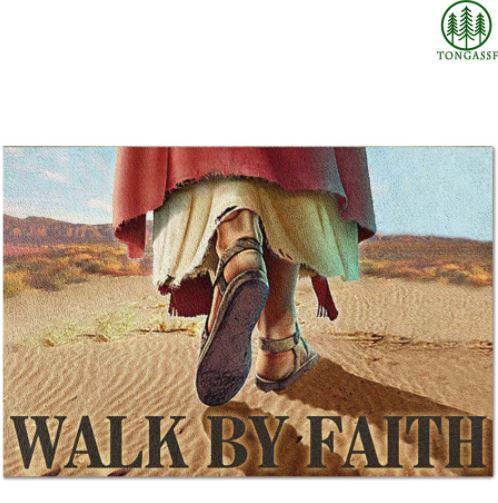 Jesus God Walk By Faith Doormat