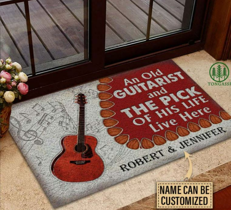 Old Couple Live Here Acoustic Personalized Doormat