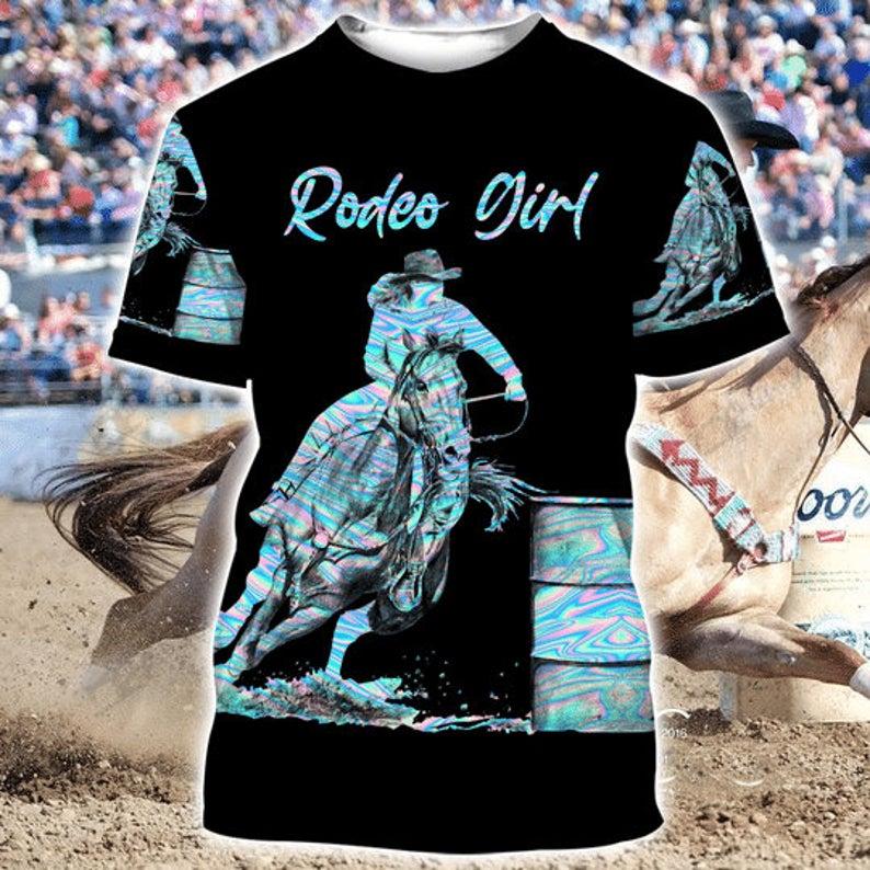 Rodeo Girl Barrel Racing Hologram 3D Hoodie