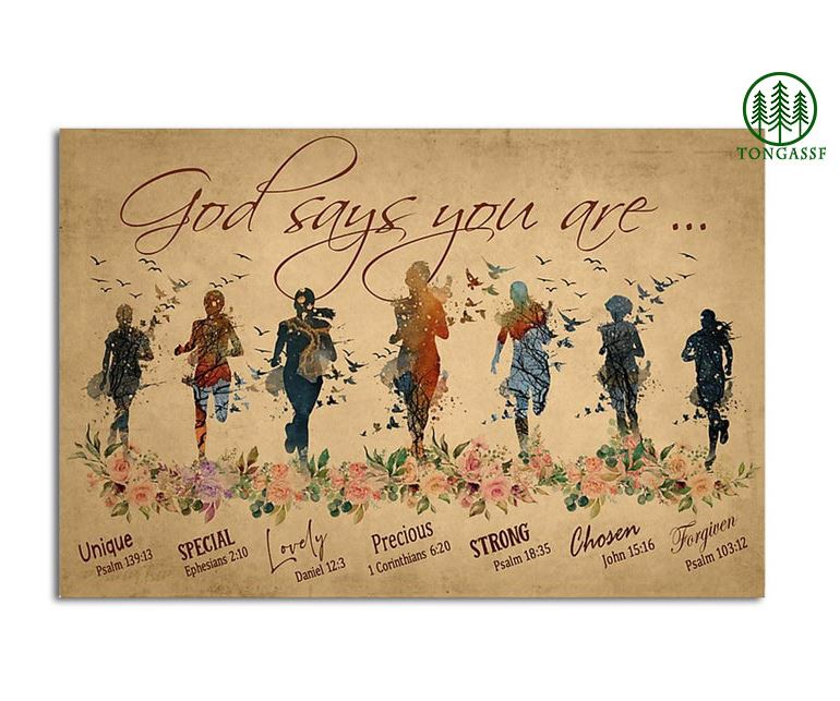 Running woman on flower God say you are poster