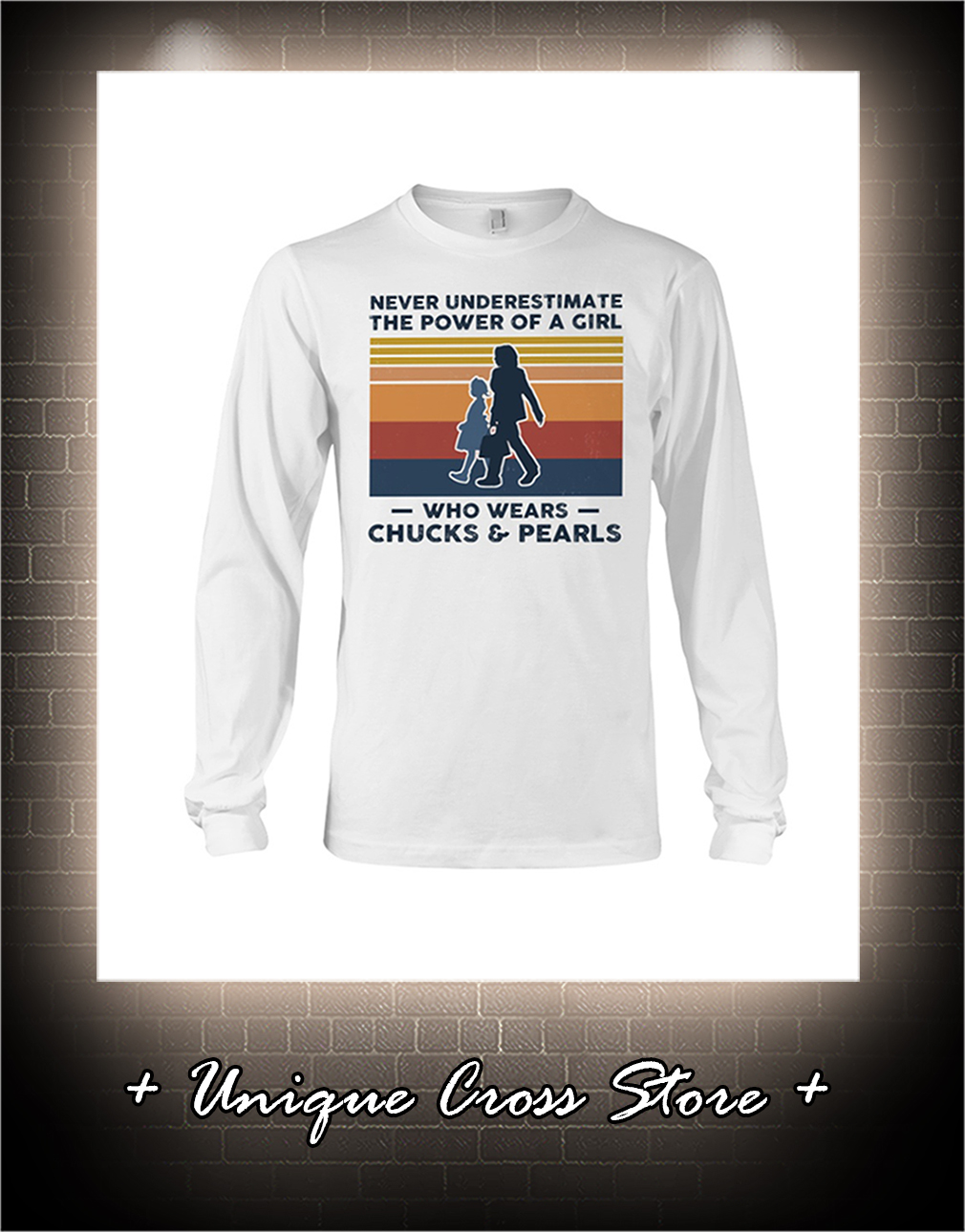 Vintage Never Underestimate The Power Of A Girl Who Wears Chucks And Pearls Shirt