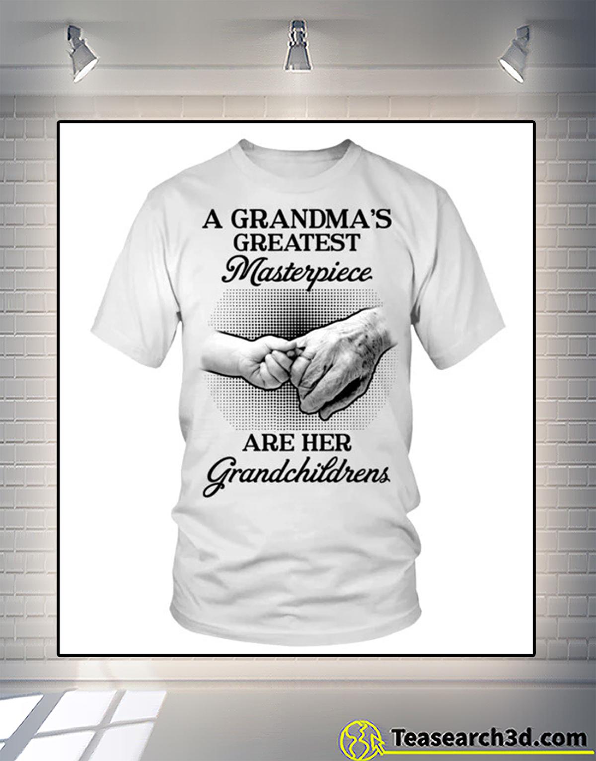 A grandma's greatest masterpiece are her grandchildrens shirt