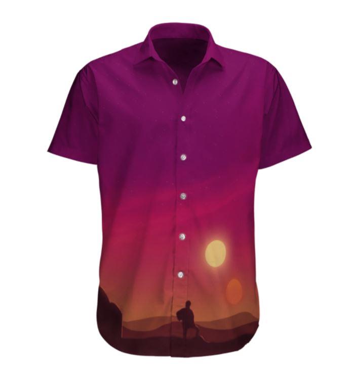 SW Man in Sunset Pinky Purple Hawaiian Shirt