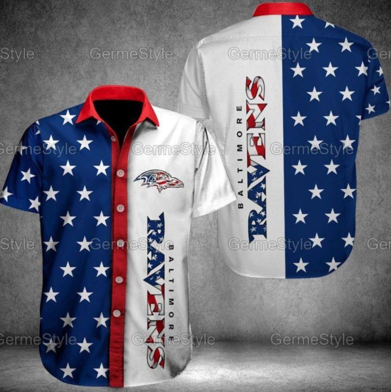 NFL Baltimore Ravens American Flag Hawaiian Shirt