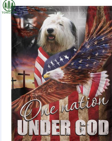 Flags Old English Sheepdog One Nation Under God American