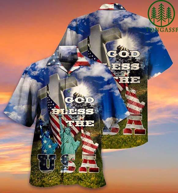 Hawaiian Shirt God bless USA Statue of Liberty American