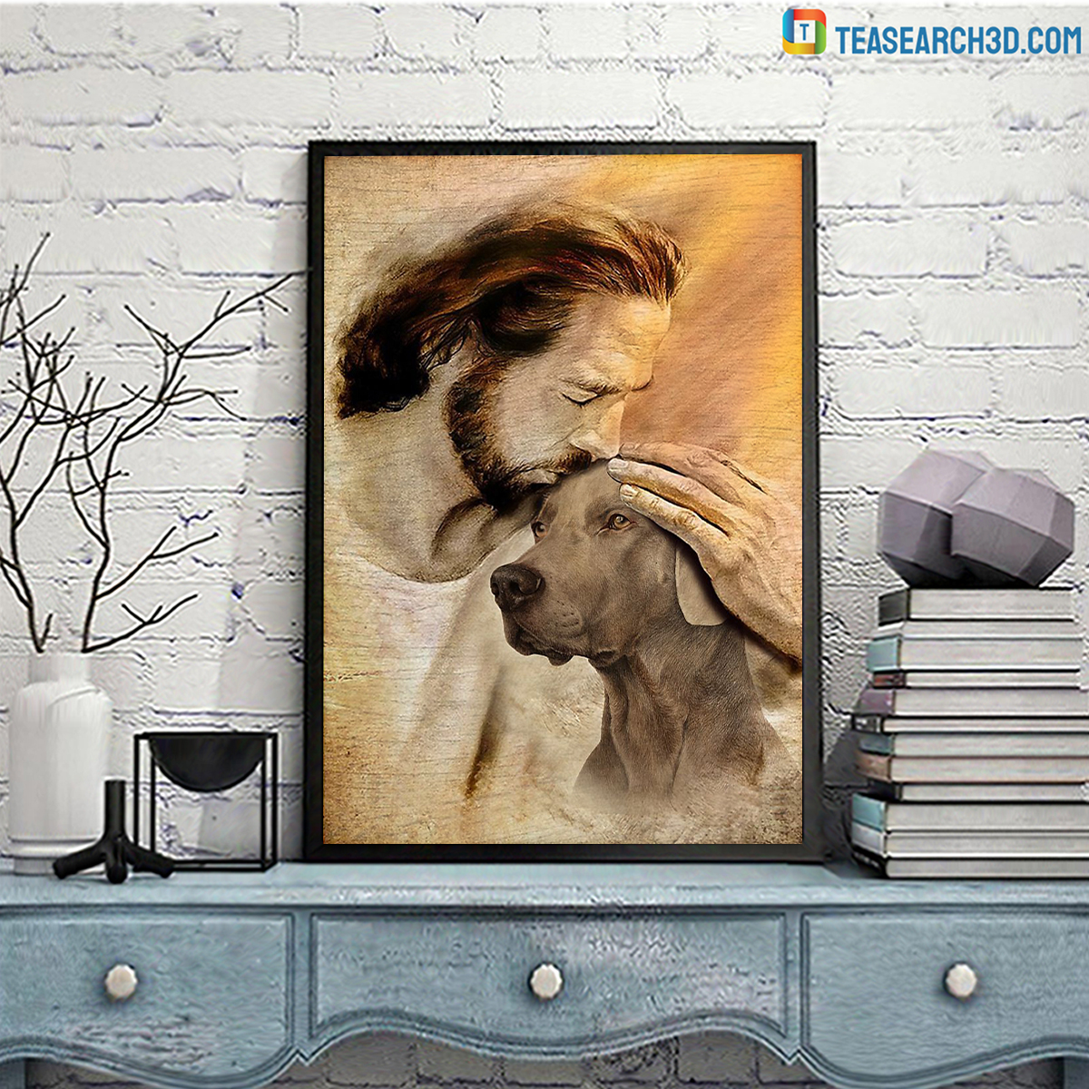 Jesus with lovely Weimaraner poster