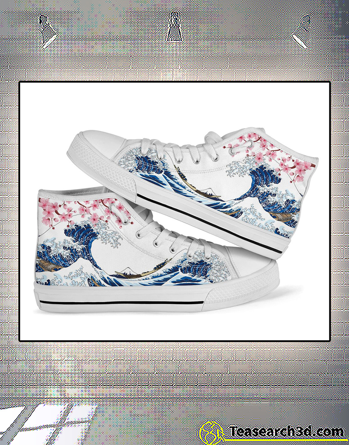 Kanagawa wave sakura cherry blossom japanese high top shoe