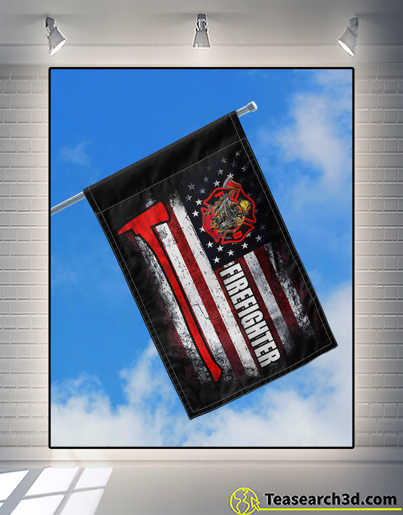 Proud firefighter american house flag