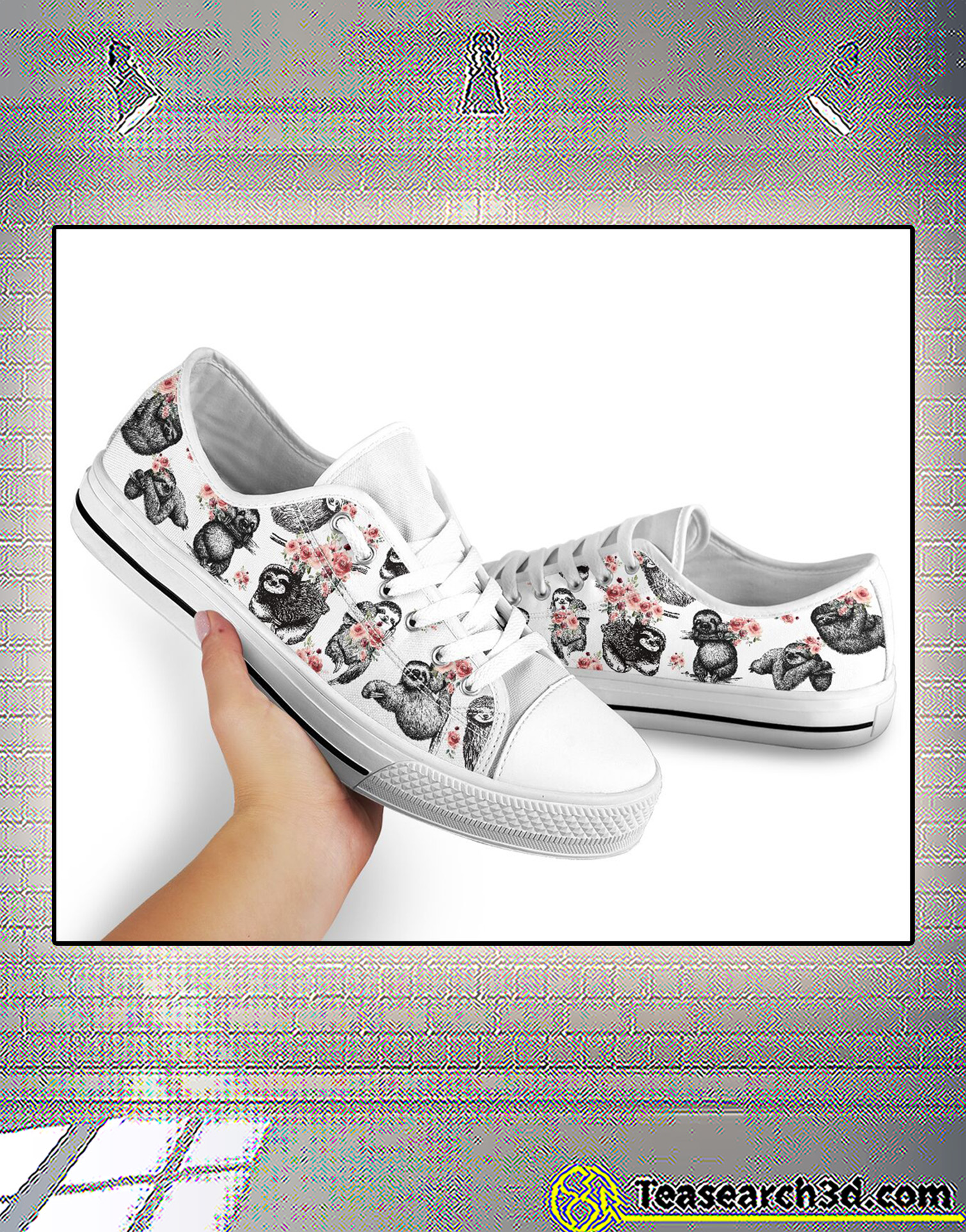 Sloth and flowers low top shoe