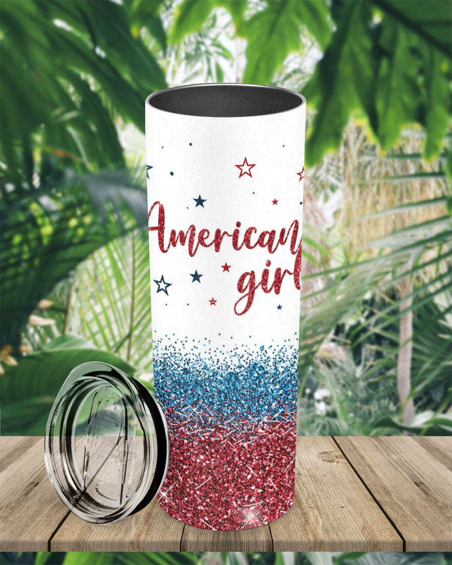 American girl will always be Trump girl glitter tumbler