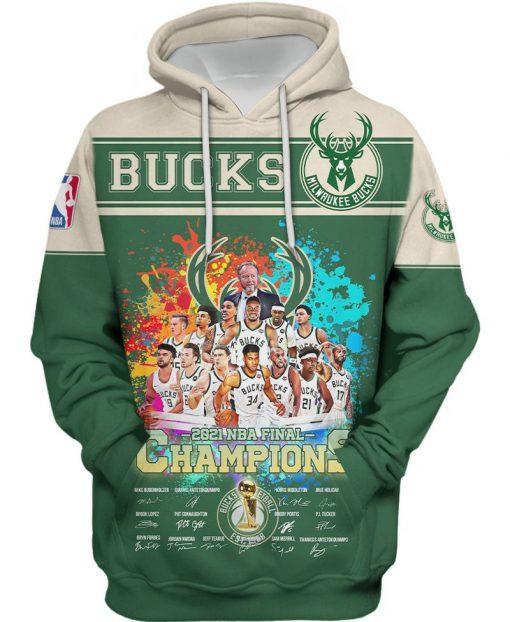 Milwaukee Bucks 2021 NBA Champions Signatures 3D Shirt