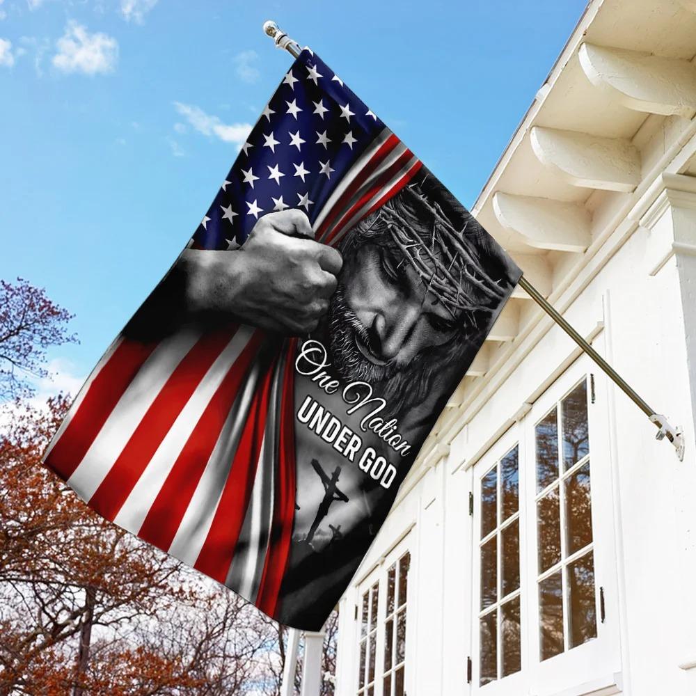 United States Of America One Nation Under God Jesus Flag