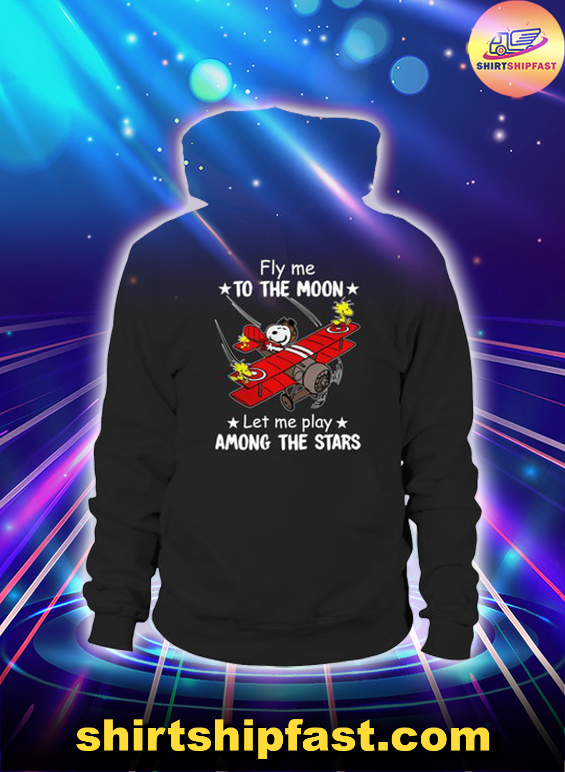 Peanuts snoopy Fly me to the moon let me play among the stars shirt and hoodie